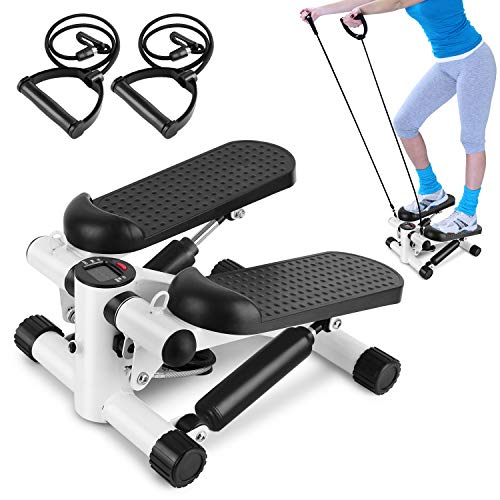 Ldoons Mini 2in1 Twister Stepper mit Power Ropes, Drehstepper & Sidestepper für Anfänger & Fortgeschrittene, Up-Down-Stepper mit Multifunktions-Display, Hometrainer Widerstand