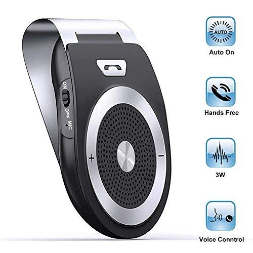 [Version française] Kit Mains Libres pour Voiture Bluetooth Allumage Automatique par capteur de Mouvement intégré, sans Fil dans Voiture Enceinte Support du GPS, Musique, Smartphones iPhone Android