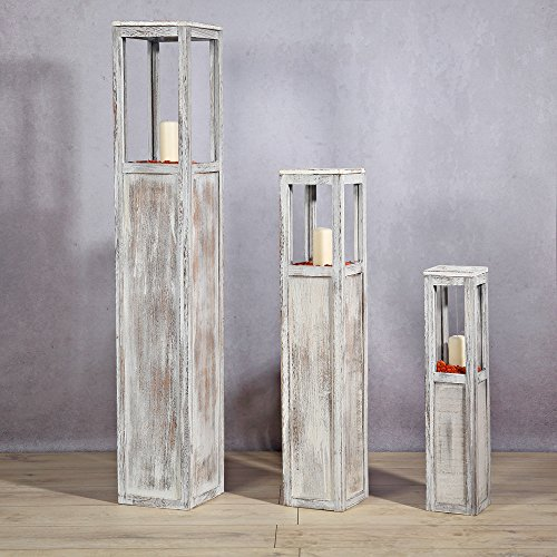 Melko Windlichtsäule 3er Set Holzlaterne Windlicht Kerzensäulen Dekosäule Blumensäule Antik-Weiß gewischt