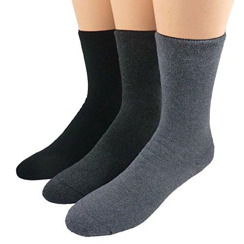 Diabetiker Thermo Socken ohne Gummi 3er Pack, Farbe:schwarz/anthrazitmeliert/dunkelgrau meliert;Größe:39/42