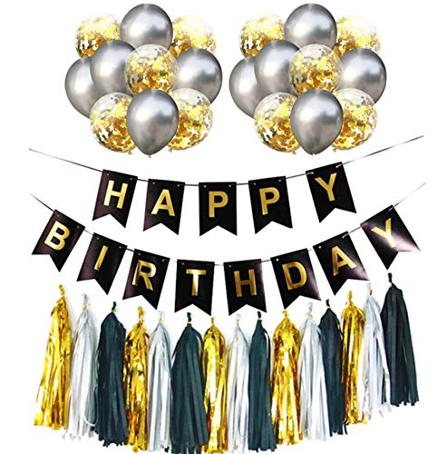 Birthday Decorations Party Kit Party Supplies Gifts Kit for Men & Women – 37 Piece Black and Gold Party Decorations Set – Includes 20PCS Balloons, 15PCS Foil Tassels,1PCS Happy Birthday Banner