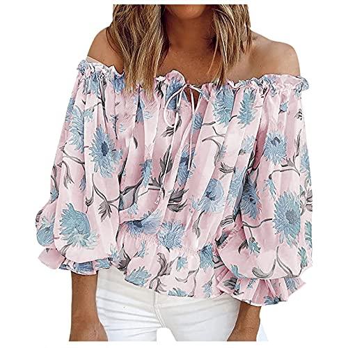 FMYONF Elegante blusa de gasa con estampado de flores, verano boho corto, manga 3/4, sin hombros, camiseta de túnica B-rosa. XXL