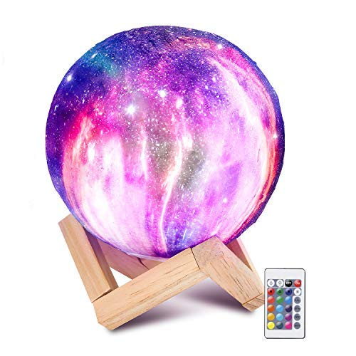 DRGY Moon Lamp 16 Colors 3D Printed Moon Lamp USB Rechargeable LED Night Light with Stand Dimmable Touch Control Table Lamp Brightness Light for Festival Kids Christmas Birthday Party