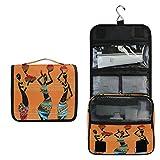 ALARGE - Bolsa de aseo colgante geométrica africana egipcia para mujer de lavado de gárgaras grande portátil de viaje bolsa de cosméticos organizador de maquillaje para mujeres y hombres