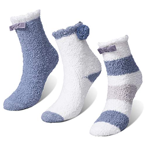 TAGVO 3 Paar Winter Coral Fleece Slipper Socken, Warme Gemütliche Coral Fleece Lounge Bett Socken, rutschfeste Home Socken, Mädchen Frauen Fuzzy Crew Socken, Für Party Holiday Multipack Geschenke