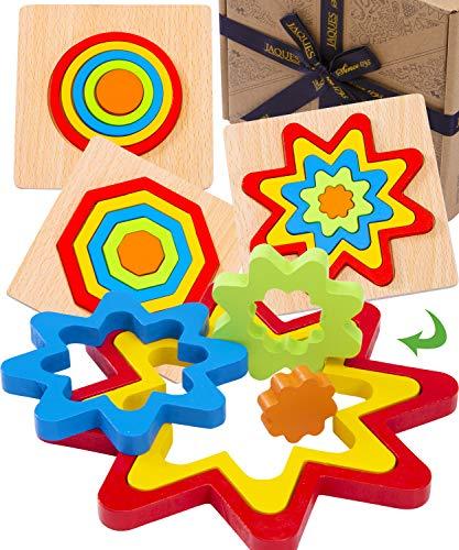 Jaques de Londres Juego de 3 Rompecabezas en Forma de Arco Iris - Rompecabezas para niños Juguetes de Madera 1 2 3 4 años - Juguetes de Lujo Montessori Rompecabezas de Madera Desde 1795