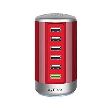 Quick Charge 3.0 USB Wall Charger 6 Ports Desktop QC 3.0 USB Hub Charging Station Multi USB Charger Fast Charging Compatible with Phones,Tablets Smartphones and More(Red)