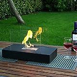 WGFGXQ Rechteckige Tischplatte Bio Ethanol Kamin, Indoor Outdoor Feuerstelle Tragbarer Feuerschale Topf Kamin in Schwarz, Realistische Verbrennung, Edelstahl