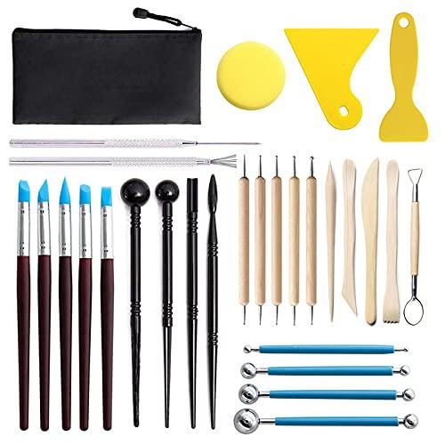 Herramientas de Arcilla, 29pcs herramientas de cerámica y arcilla para escultura manualidades, arte de uñas, DIY Arte Cerámica