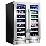 "Ivation 40-Bottle Dual-Zone 24"" Built-In Wine Cooler & Beverage Center Combo or (20-Bottle & 66-Can), Undercounter Compressor Fridge/Cellar, Bar Refrigerator, Quiet, French Glass & Stainless Steel"