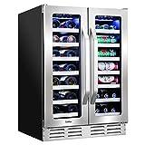 "Ivation 40-Bottle Dual-Zone 24"" Built-In Wine Cooler & Beverage Center Combo or (20-Bottle &..."