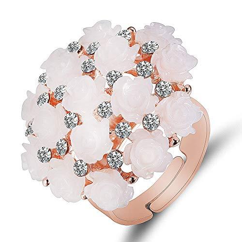 IWINO Rose Gold Pink Sakura Open Ring Party Glamour Mode-accessoires Elegante Dame Decoreren Sieraden Verlovingsring Zirkonia Ring