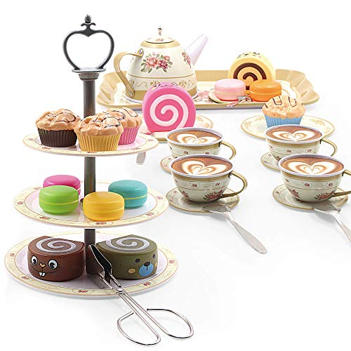 Kididdo 39 Pieces Tea Set for Little Girls Age 3,4,5,6|Pretend Play for Toddlers |Best Tea Party Gift Set with Food Accessories for Toddlers and Little Girls