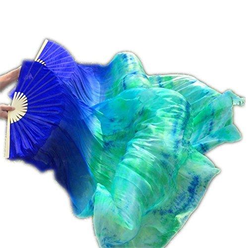 シルクファンベール 2本セット シルク100% ベリーダンス ファンベール シルクファンベール ベール シルク 衣装 扇子 団扇 舞台 小道具 アクセサリー 扇子 団扇 絞り染め 180*90 cm (青)