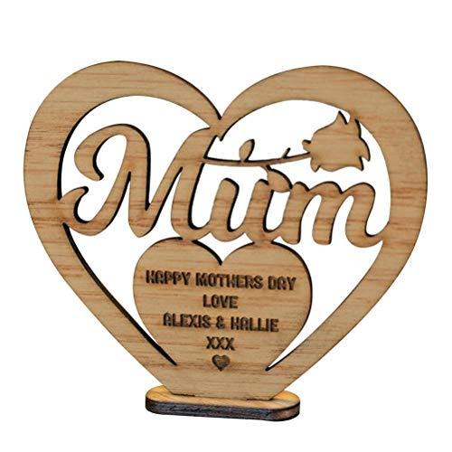 Lubudup Adornos para el día de la Madre en Forma de corazón de Madera de Pino de Piedra, Adornos artesanales de Madera, Regalo para la Madre