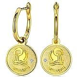 FANCI Regalos Pendientes Mujer Plata de Ley 925 Pendientes Colgantes Acuario Signos Moneda Regalos para Mujer Regalos para Mama