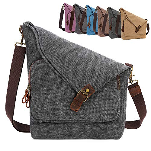 AmHoo Canvas Crossbody Bag for Women Genuine Leather Messenger Purse Handbags Shoulder Bag Hobo Totes Black