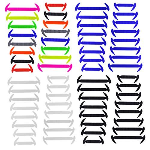 Lacci Delle Scarpe Elastici Silicone Impermeabile Per Bambini E Adulti, No-tie Lacci Delle Scarpe Per Adolescenti E Sportivi, 4 Coppie (Blu+ Multicolore+ Bianca+ Nero)