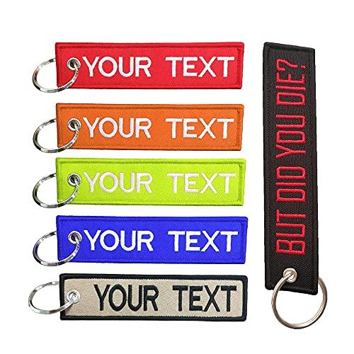 Brillianne Portachiavi personalizzato, portachiavi ricamato personalizzabile con il tuo testo, tag con portachiavi adatto per personale di servizio, auto, moto