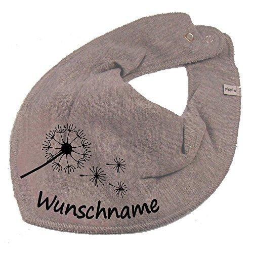 HALSTUCH PUSTEBLUME mit Namen oder Text personalisiert grau für Baby oder Kind