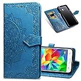MRSTER Funda Compatible con Samsung Galaxy Grand Prime G530, PU Cuero Flip Folio Carcasa, Cierre Magnético, Función de Soporte, Billetera PU Cuero Funda para Samsung G530. SD Mandala Blue