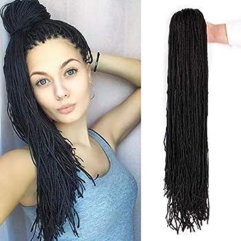 10Packs 28 Inch Small Box Braids Crochet Hair ZiZi Braids Black Color Long Synthetic Hand Micro Braids Hair Extensions for Women  28 Strands/Pack 1B#