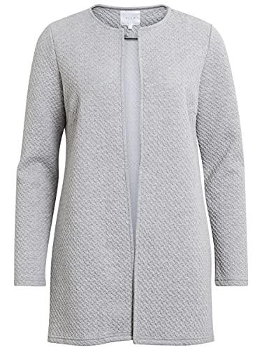 Vila Clothes Damen VINAJA New Long JKT Blazer, Grau (Light Grey Melange), 42 (Herstellergröße: XL)