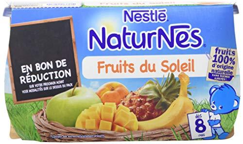 NESTLE NATURNES Compotes Bébé Fruits du soleil -Lot de 4 -Dès 8 mois
