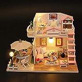 Casa de muñecas en miniatura con muebles, kit de casa de muñecas de madera 3D con cubierta antipolvo y movimiento musical, mini kit de bricolaje exquisito modelo de apartamento regalo creativo para