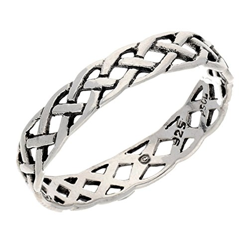 Narrow 4mm Neverending Celtic Knot Sterling Silver Pinky Band Ring Size 7(Sizes 3,4,5,6,7,8,9,10,11,12,13,14,15,16)