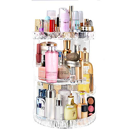 Acrylic Makeup Organizer ,Adjustable Makeup Brush Holder,360-Degree Rotating Cosmetic Organizer,Fits Different Types of Cosmetics, Clear & Diamond Pattern