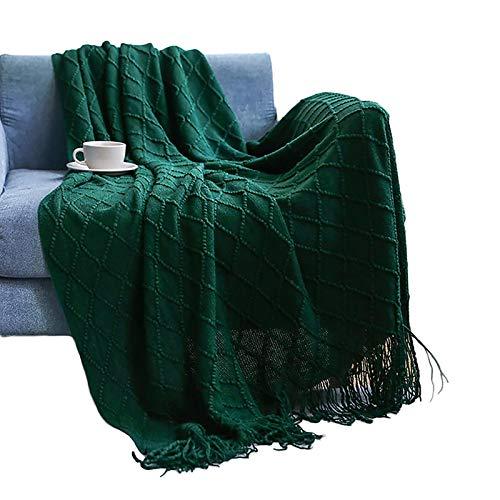 Superweiche Sofadecke, gestrickt, zweiseitig, Überwurf, Decke, Reise, Camping, Decke, für Couch, Sofa, Bett, Strickdecke, Sofadecke, 130 x 200 + 10 cm, Dunkelgrün