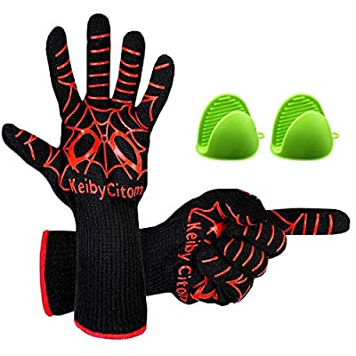 Fire Resistant Gloves Fire Pit 932°F Heat Resistant - BBQ Gloves for Barbecue Kitchen Outodor Cooking Baking Fireplace Accessories with 2 Free Mini Oven Mitts (One Size, Black/Red)