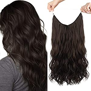 HOOJIH Halo Hair Extensions 3 Ways Adjustable Head Size Curly Wavy Halo Wigs 20 Inch 140 Gram Hidden Crown Invisible Secret Extensions for Women - Rich Dark Brown