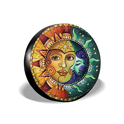 KXT Flag Celestial Moon and Sun Colorful Spare Tire Covers,Dust-Proof Sunscreen Weather-Proof Tire Cover for Jeep RV SUV Truck Camper Accessories