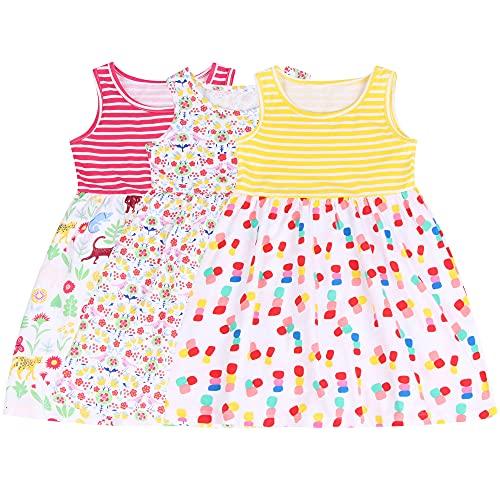 L&K-II Pack de 3 Niños Niñas Vestido de Verano sin Mangas Algodón Patrón Dulce Vestido sin Mangas para niñas bebés Modelo Delgado 1-8 años 5206+5207+5208 98-104