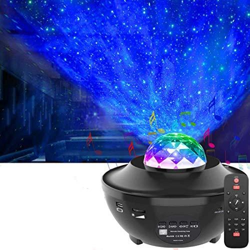 LED Sternenhimmel Projektor,OxyLED LED Sternenlicht Projektor mit Fernbedienung&Bluetooth&Timer,Rotierende Wasserwellen Projektionslampe, Farbwechsel Musikspieler Nachtlichter für Zimmer,Party,Zuhause