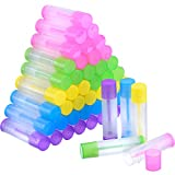 eBoot 50 Pieces Lip Balm Empty Container Clear Tubes with Twist Bottom and Top Cap, 3/16 Oz (5.5 ml) (Multicolor)