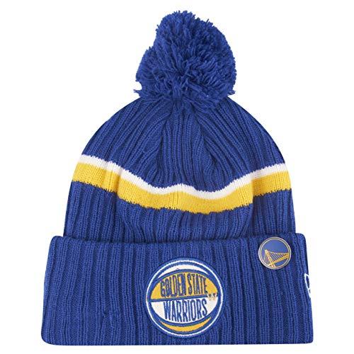 New Era NBA Draft OTC Golden State Warriors - Berretto con pompon in maglia, colore: blu blu Taglia unica