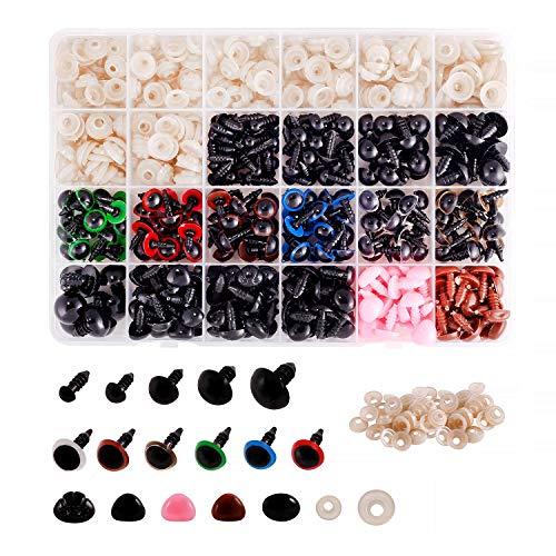 Ojos y narices de seguridad de plástico colorido de 592 piezas para muñecas, marionetas, animales de peluche y osos de peluche