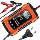 YDBAO Cargador de Baterias de Coches 6A 12V Baterias de Coche con Múltiples Protecciones Inteligente LCD Pantalla Táctil para Moto Barco (Rojo)