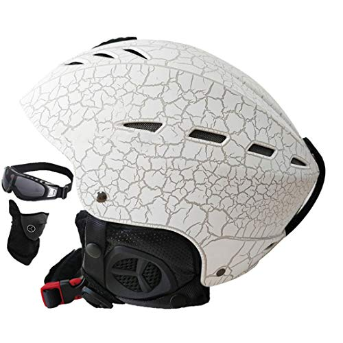 Ski Helme Certification ABS + EPS Casque de Ski de Patinage de Neige Snowboard Skateboard Casque White Crack M (55-57cm)