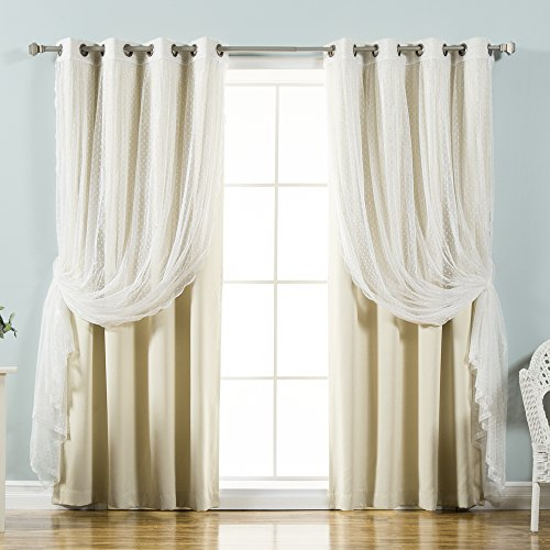 "Best Home Fashion Mix & Match Dotted Tulle Lace & Solid Blackout Curtain Set – Antique Bronze Grommet Top (52"" W x 84"" L, Beige)"