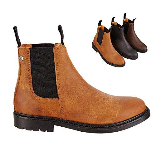 SUEDWIND FOOTWEAR Chelsea Boot »New Work« Bequeme Stiefelette aus Rindsleder Handmade in Portugal | REIT-Schuh mit robuster Gummisohle | Innenleder | Schuh Schlupf Stiefel in Größe 42 | Cognac
