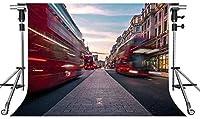 HDロンドンストリートビューの背景建物の赤いバス写真の背景10X7ftをテーマにしたパーティーの写真ブースYouTubeの背景PMT568