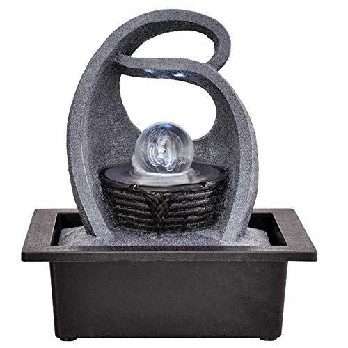 AZYQ Fontaine d'eau de table Zen, résine de simulation intérieure créative rocaille cascade Statue Feng Shui fontaine d'eau maison jardin déco, E #,D#