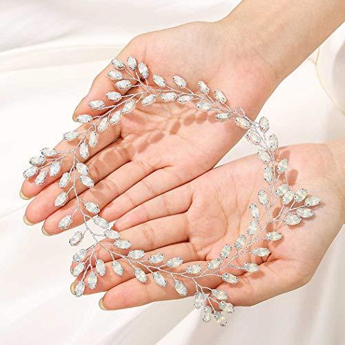 IYOU Accessori per capelli da sposa con fascia per capelli da sposa in argento con strass scintillanti Accessori per capelli per donne e ragazze (argento)