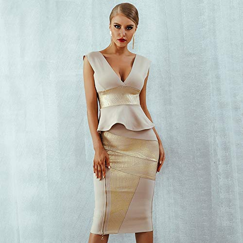 Kleider Rüschen Celebrity Party Kleid Sommer Frauen Bodycon 2-teiliges Set Ärmellose V-Ausschnitt Reißverschluss Bandage Kleid Frauen