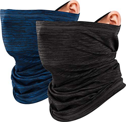 LUROON Hombre Mujer Braga Cuello Moto Pasamontañas Bragas de Cabeza Turbante Sol UV Protección Multifunción Bandana para Senderismo Ciclismo Acampada Correr Aire Libre (Negro+Azul Oscuro)