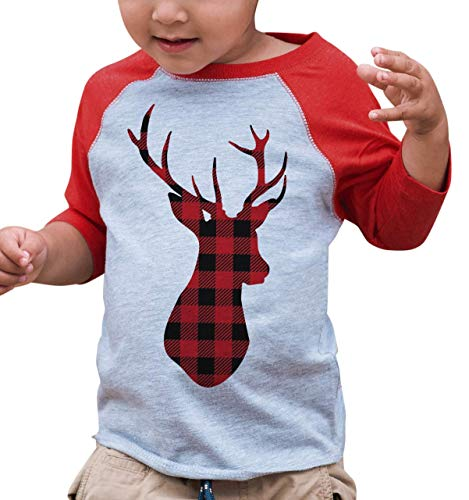7 ate 9 Apparel Kids Plaid Deer Christmas Raglan Shirt Red 5/6T